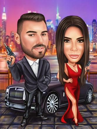 Digitalna-karikatura-couple-with-car