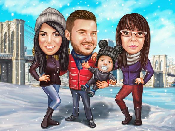Digitalna-karikatura-family-winter