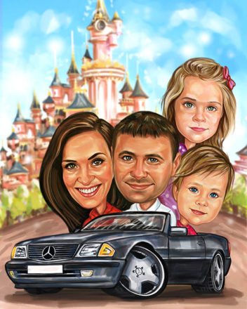 Digitalna-karikatura-with-children-and-car