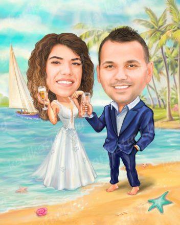 Карикатура_подарък_за_сватба_младоженци_на_море