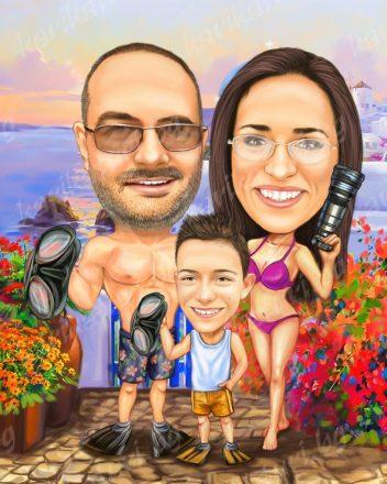 Семейна_карикатура_на_море