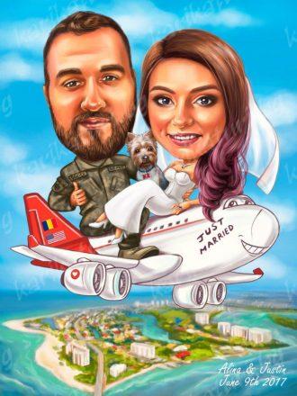 Карикатура_за_булка_и_младоженец_самолет