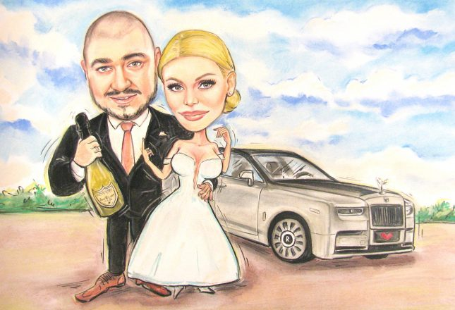 карикатура_младоженци_кола_шампанско